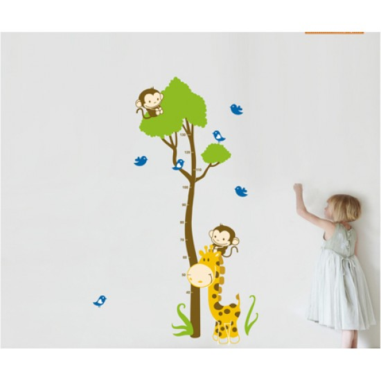 Animals with Tree Growth Chart Wall Decal